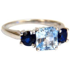2.68 Carat Natural Vivid Ice Blue Sapphire Ring 14 Karat Classic Three