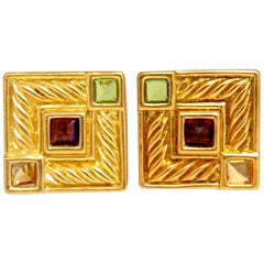 Designer Ivan & Co Natural Citrine Tourmaline Peridot Clip earrings 18Kt vivid