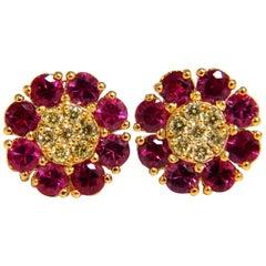 2.75 Carat Natural Fancy Yellow Diamonds Ruby Cluster Earrings 14 Karat