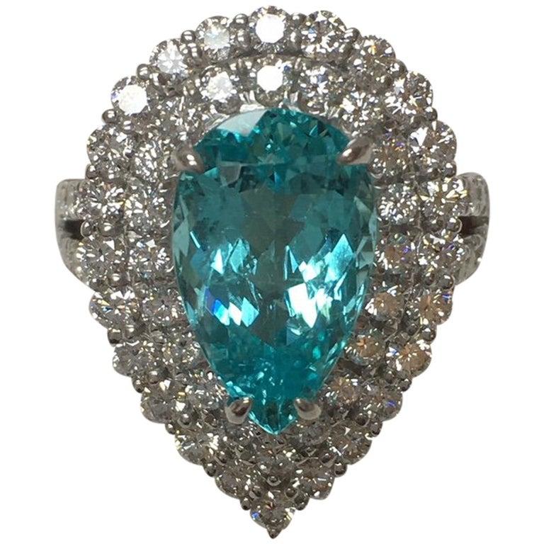 GIA Certified 4.13 Carat Paraiba Tourmaline Diamond Halo Ring