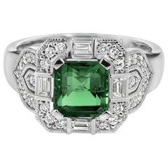 Art Deco Emerald and Diamonds Gold Ring