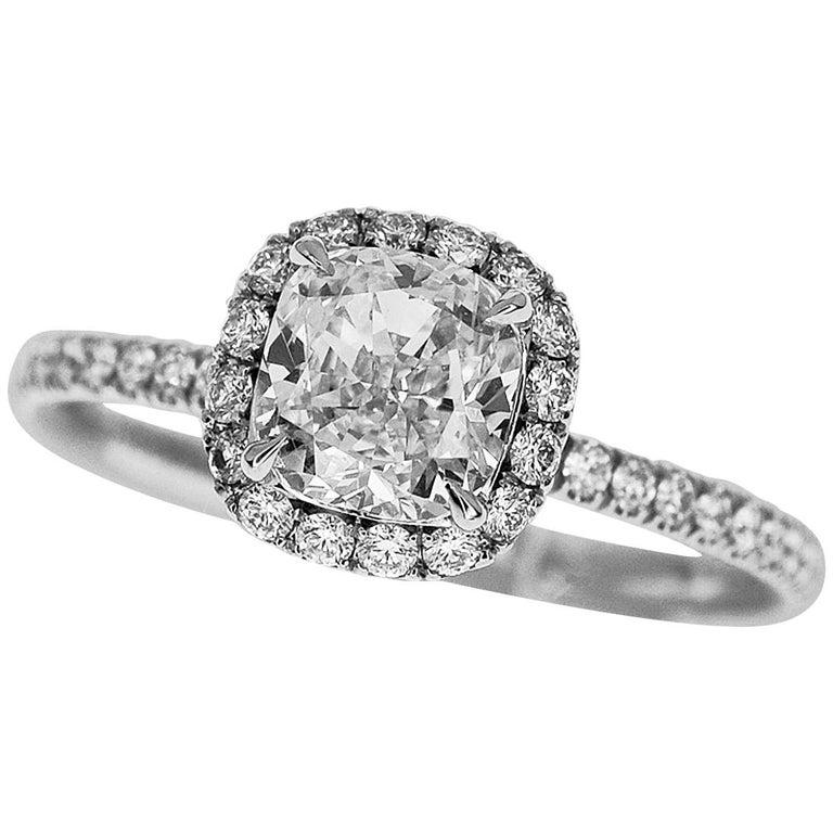 Harry Winston the One Cushion-Cut Diamond Micropavé Engagement Platinum Ring