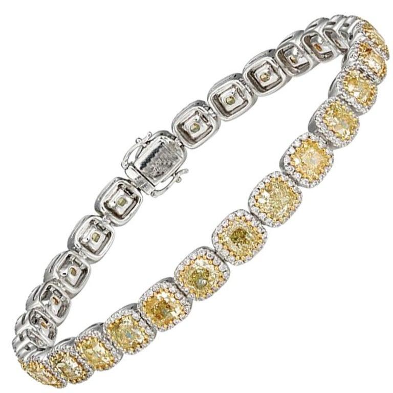 12.18 Carat Yellow Diamonds 18 Carat White and Yellow Gold Tennis Bracelet For Sale