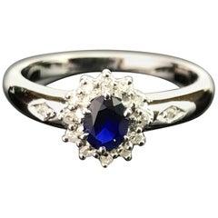 Blue Sapphire and Diamond 14 Karat Gold Ring