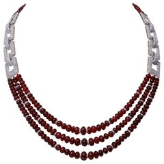 18 Karat Gold Spinel and Diamonds Multi-Strand Necklace