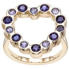 14 Karat Gelbgold mit Tansanite und blauen Saphir Herzform gestaltetem Cocktail-Ring