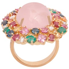18K Gold Multi-Color Precious Stones and Rose Quarts Ring