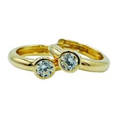 Luca Jouel White Diamond Petite Hoop Earrings in 18 Carat Yellow Gold