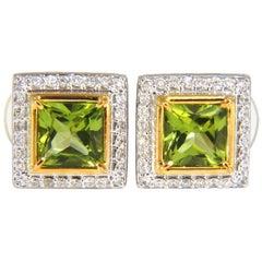 4.60ct NATURAL PRINCESS CUT GREEN PERIDOT DIAMOND EARRINGS 14KT BARK DECO