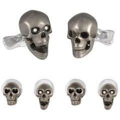 Deakin & Francis Sterling Silver Grey Skull Dress Stud Set with Diamond Eyes