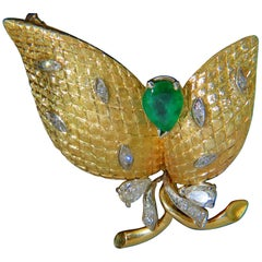 18 Karat Italy Estate 2.00 Carat Fine Green Emerald Diamonds Deco Fern Brooch