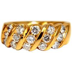 1.40 Carat Diagonal Channel Diamonds Band 14 Karat True Comfort Fit 14 Karat