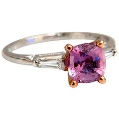 GIA Certified 1.47 Carat Natural No Heat Pink Sapphire Diamonds Ring 14 Karat