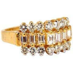 1.40 Carat Diamonds Raised Cathedral Ring 14 Karat