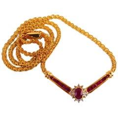 1.46 Carat Natural Ruby Diamonds Heart Necklace 14 Karat