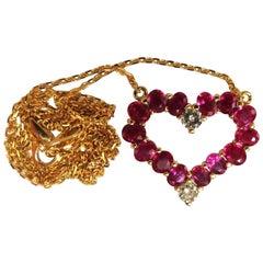 2.68 Carat Natural Ruby Diamonds Heart Necklace 14 Karat Vivid Reds
