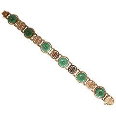 1950s Estate Natural Jade Chinese Symbol Bracelet 14 Karat