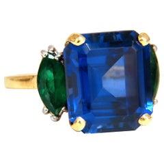 11.52 Carat Lab Sapphire Natural Emerald Ring 18 Karat Platinum