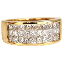 1.85 Carat Natural Princess Diamond Band Ring 14 Karat Channel Row Invisible
