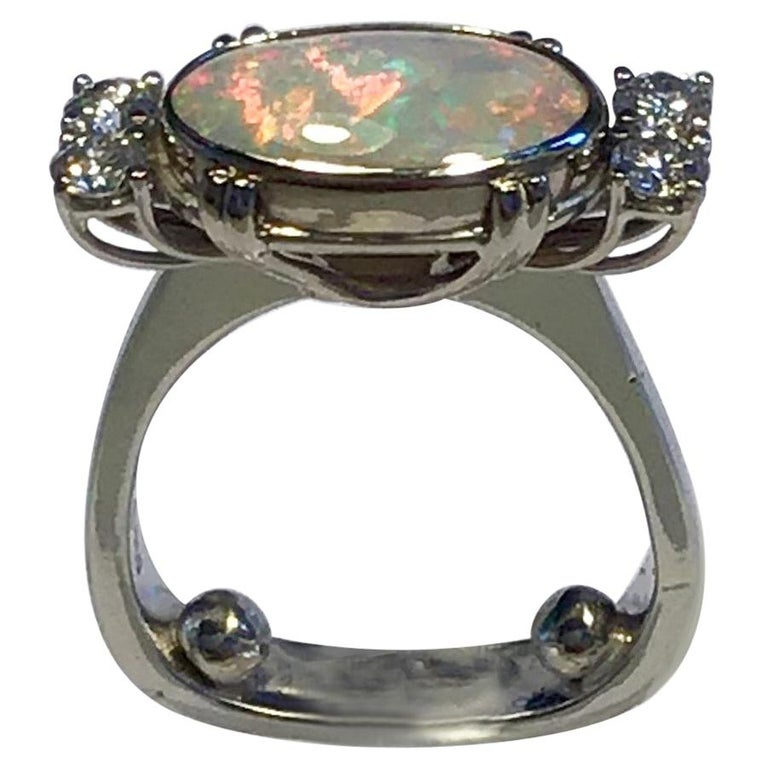 Georg Jensen 18 Carat Gold Ring Opal and Brilliant For Sale