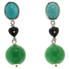 Jade 18 karat White Gold Turquoise Diamonds Drop Earrings