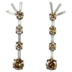 Important 5.80 Carat Fancy Orange Brown Diamond Vintage Drop Earrings