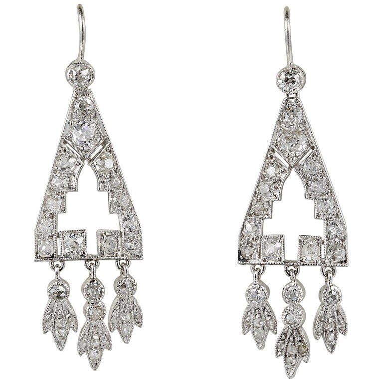 Art Deco 2.0 Carat Diamond Rare Platinum Drop Earrings