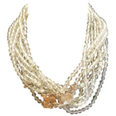 Necklace in Prasiolite with Ginko Leaves in 18 Karat Gold with Diamonds