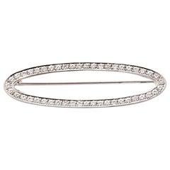 Brooch with Diamonds of Ca. 1.5 Carat, 18 Karat White Gold