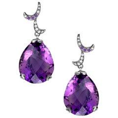 Fei Liu Purple Amethyst 18 Karat White Gold Small Pear Drop Earrings
