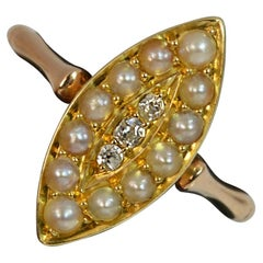 Victorian 15 Carat Rose Gold Diamond and Pearl Marquise Navette Cluster Ring