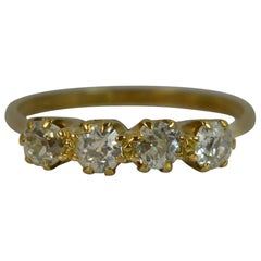 Antique 0.80 Carat Old Cut Diamond Four-Stone 18 Carat Gold Stack Ring