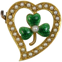 Victorian 9 Carat Gold Enamel Pearl Witches Heart Lucky Clover Shamrock Brooch