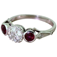 Art Deco 0.75 Carat Old Cut and Ruby Trilogy Ring