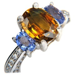 3.68CT Natural Fancy Vivid Yellow Brown Sapphire Tanzanite Diamonds Ring 14KT
