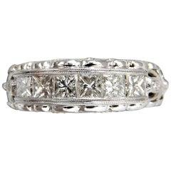 1.45 Carat Natural Princess Cut Diamonds Band 14 Karat G/H/Vs Gilt Etch Detail