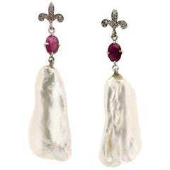 Pearl 18 karat White Gold Diamonds and Rubies Drop Earrings