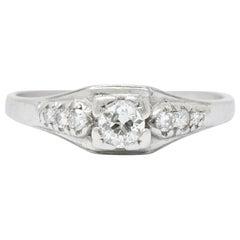 Retro 0.30 Carat Diamond Platinum Engagement Ring