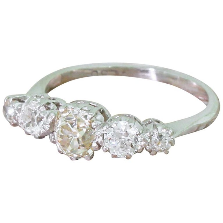 Art Deco 1.15 Carat Old Cut Diamond Five-Stone Ring For Sale