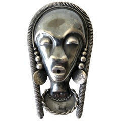 French Moderne Sterling Silver African Native Goddess Brooch