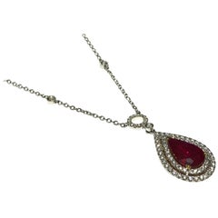 Red Ruby Diamond Necklace