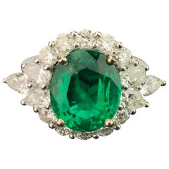 4.85 Carat Emerald and Diamond Cocktail Ring