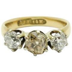 Antique Three-Stone Old Mine Cut Champagne Diamond Ring JJ Sommer Co. 14 Karat