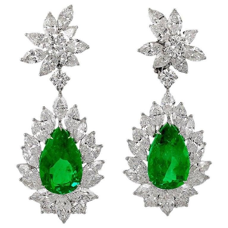 Pear Shape Emerald Diamond Earrings