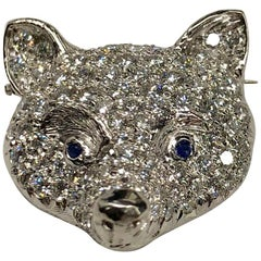 Platinum Diamond Fox Head Pin
