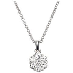 .60 Carat Diamond White Gold Cluster Pendant Necklace