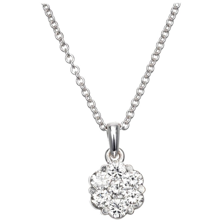 .60 Carat Diamond White Gold Cluster Pendant Necklace