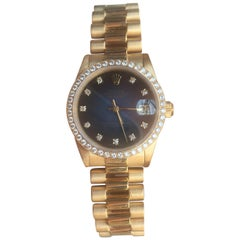 Rolex Gold Datejust Factory Diamond Dial and Bezel Model 68288 Box and Papers