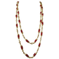 Chanel 1960s by Goossens Red Gripoix Beads Filigree Sautoir Necklace