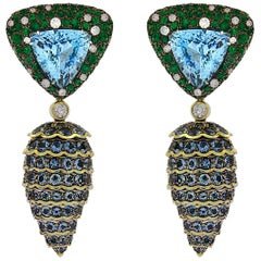 Valentin Magro Emerald, Aquamarine and Diamond Pine Cone Drop Earrings